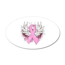 Winged Pink Ribbon 22x14 Oval Wall Peel