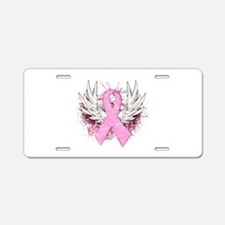 Winged Pink Ribbon Aluminum License Plate