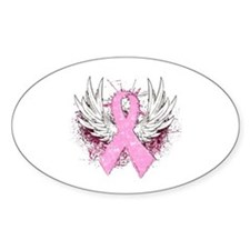 Winged Pink Ribbon Oval Decal