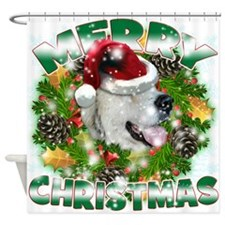 MerryChristmas Great Pyrenees Shower Curtain