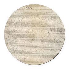 US Constitution  Round Car Magnet