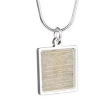 US Constitution  Silver Square Necklace