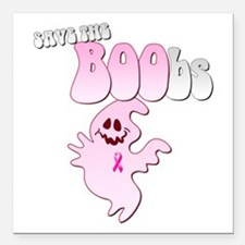 "Save the BOObs Pink Ghost Square Car Magnet 3"" x 3"
