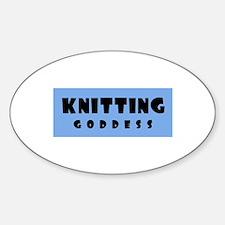 Knitting Goddess Oval Decal