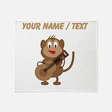 Custom Monkey Playing Guitar Throw Blanket