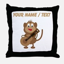 Custom Monkey Playing Guitar Throw Pillow