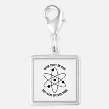 Never Trust An Atom Silver Square Charm