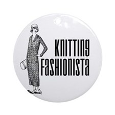 Knitting Fashionista Ornament (Round)