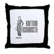 Knitting Fashionista Throw Pillow