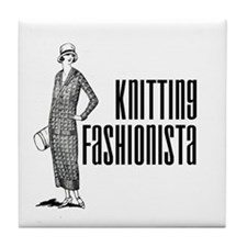 Knitting Fashionista Tile Coaster
