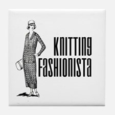 Knitting Fashionista Tile Coaster