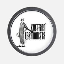 Knitting Fashionista Wall Clock