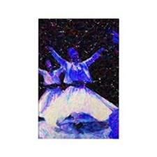 Whirling Dervishes in blue dots Rectangle Magnet