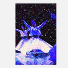 Whirling Dervishes in blu Postcards (Package of 8)