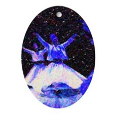 Whirling Dervishes in blue dots Oval Ornament
