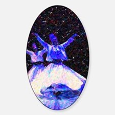 Whirling Dervishes in blue dots Sticker (Oval)