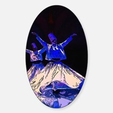 Whirling Dervishes in blue Sticker (Oval)