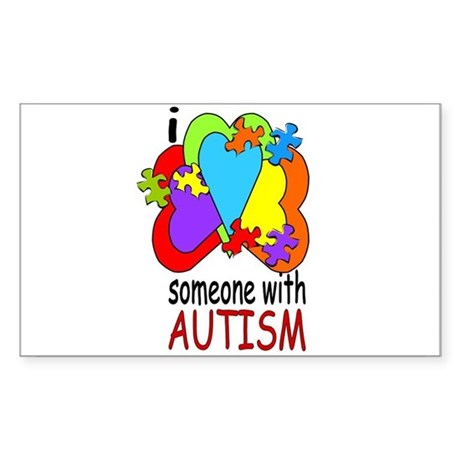 I Love Someone with Autism Rectangle Sticker