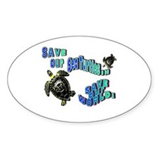 Save Our Sea Turtles.. Save O Oval Decal