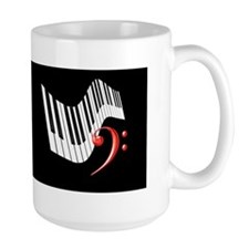 Keyboard and Bass Clef Red Ceramic Mugs
