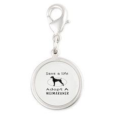 Adopt A Weimaraner Dog Silver Round Charm