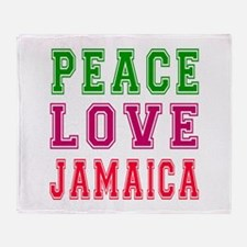 Peace Love jamaica Throw Blanket