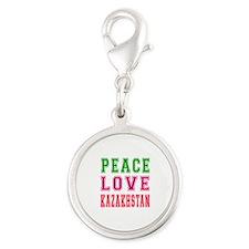 Peace Love Kazakhstan Silver Round Charm