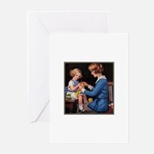 Mother and Daughter Knitting Greeting Cards (Packa