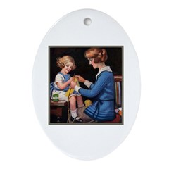 Mother and Daughter Knitting Oval Ornament