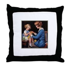 Mother and Daughter Knitting Throw Pillow
