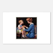 Mother and Daughter Knitting Postcards (Package of