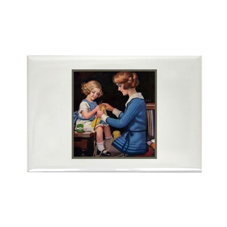 Mother and Daughter Knitting Rectangle Magnet
