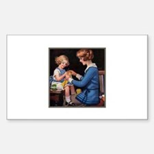 Mother and Daughter Knitting Rectangle Decal
