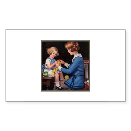 Mother and Daughter Knitting Rectangle Sticker
