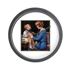 Mother and Daughter Knitting Wall Clock