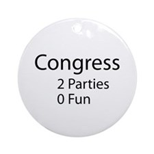 Congress. 2 Parties, 0 Fun Round Ornament