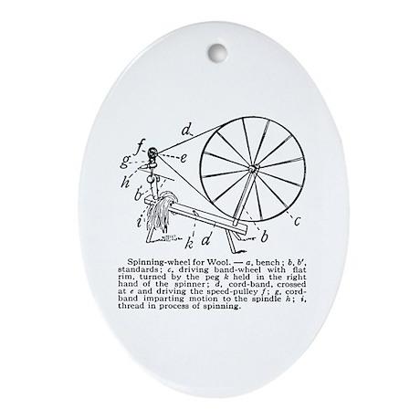 Yarn - Vintage Spinning Wheel Oval Ornament