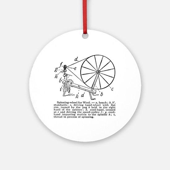 Yarn - Vintage Spinning Wheel Ornament (Round)