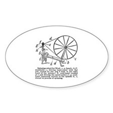 Yarn - Vintage Spinning Wheel Oval Decal