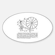 Yarn - Vintage Spinning Wheel Oval Decal