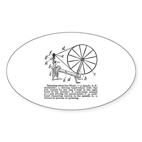 Yarn - Vintage Spinning Wheel Oval Sticker