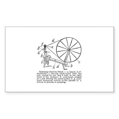 Yarn - Vintage Spinning Wheel Rectangle Sticker