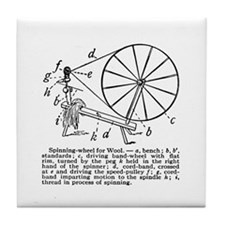 Yarn - Vintage Spinning Wheel Tile Coaster