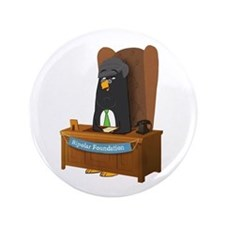 """Stephen Fry Penguin - Charity 3.5"""" Button"""