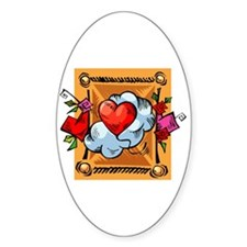 Valentine Heart Balloon Oval Decal