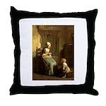 The Knitting Lesson Throw Pillow