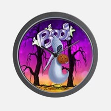 Fun Boo Ghost Halloween With Pumpkin Wall Clock