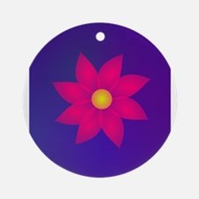 Red Flower in Space Ornament (Round)