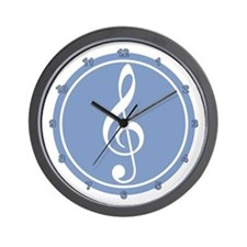 Treble Clef Blue Wall Clock