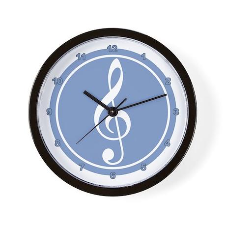 Treble Clef Blue Wall Clock
